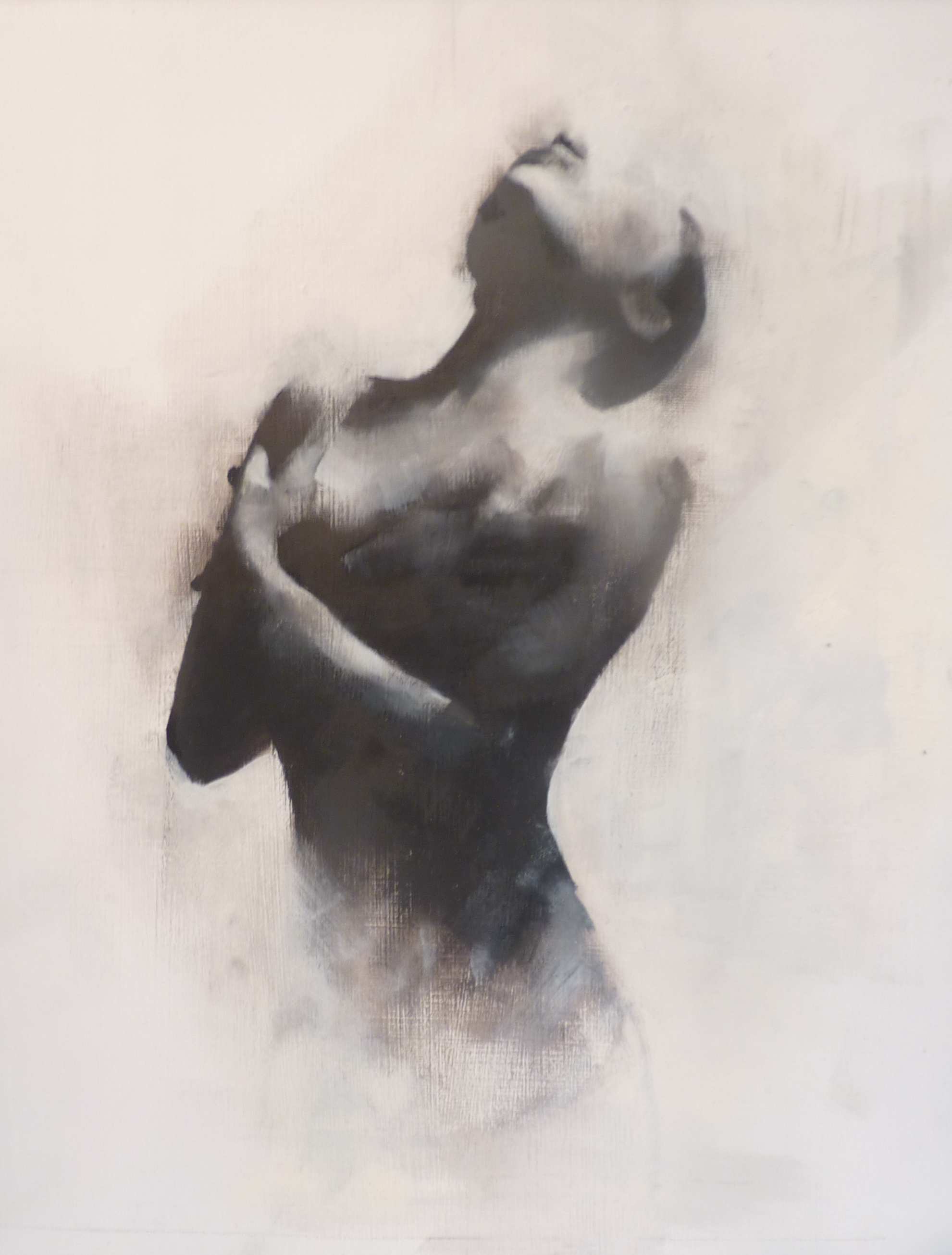 Monochrome figurative oil painting. Black and white oil.